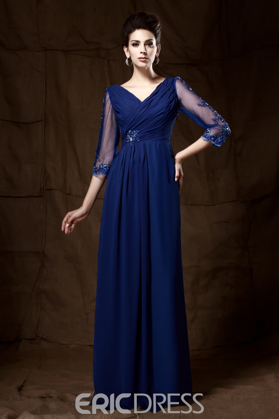 V-neck 3/4 Sleeves Long Mother of the Bride Dress
