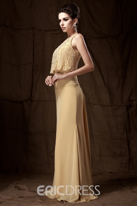 Ericdress Jewel Neck Beading Sheath Mother of the Bride Dress