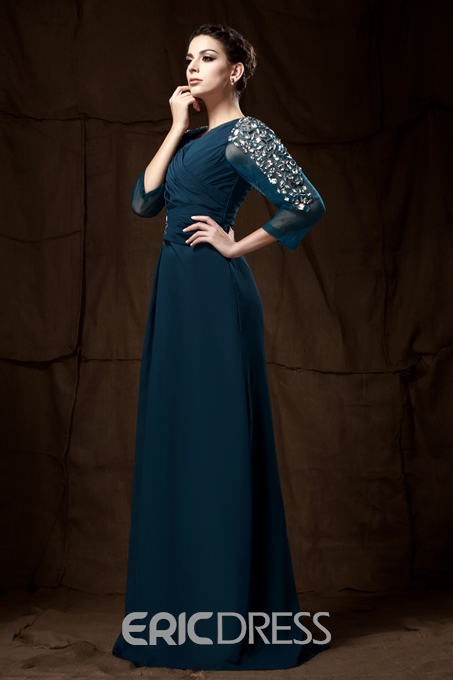 Attractive Beaded/Sequins Sheath/Column Scoop Neckline Mother of the Bride Dress