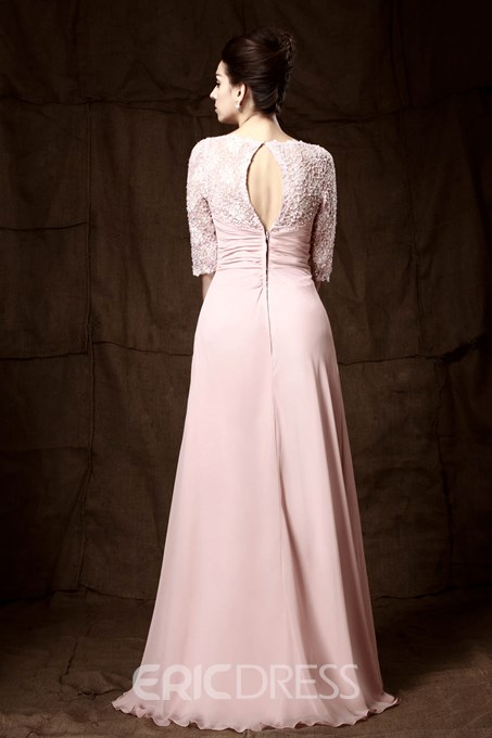 Romantic Lace Beaded Ruched A-Line V-Neck Mother of the Bride Dress