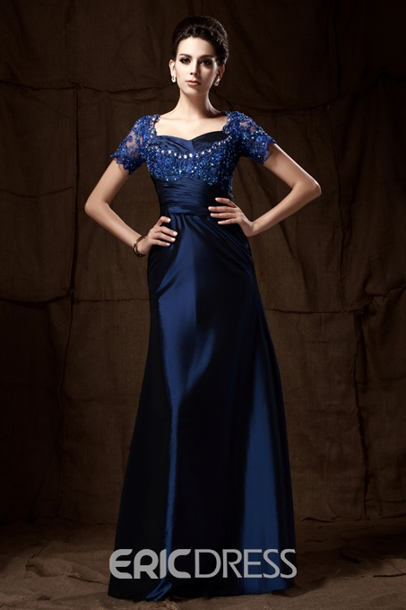 Fancy A-line Lace Short Sleeves Floor-Length Mother of the Bride Dress