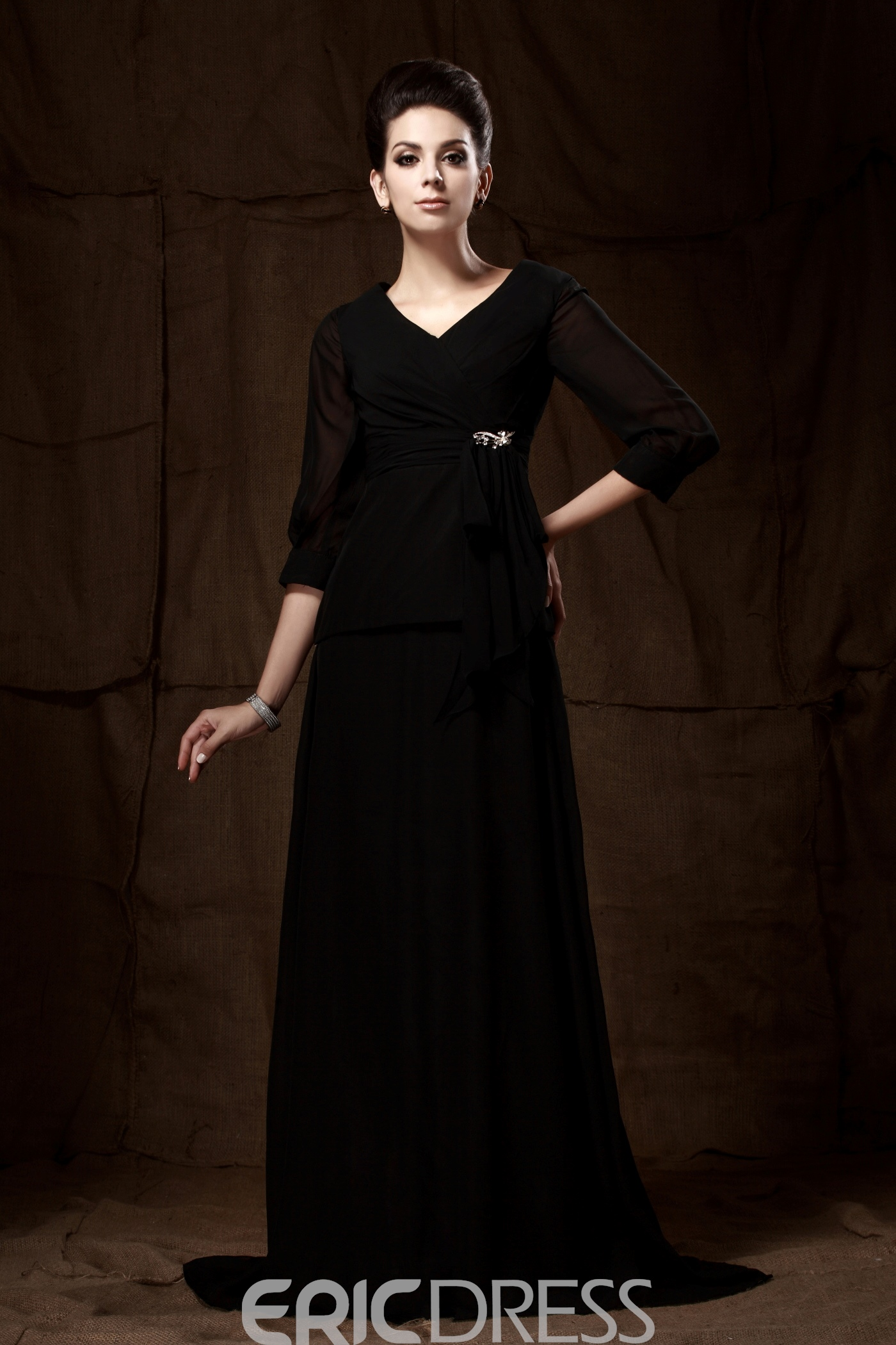 Beaded A-Line V-Neck Half-Sleeves Floor-Length Taline's Mother of the Bride Dress