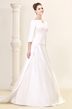 Awesome A-Line 3/4-Length Sleeve Bateau Wedding Dress