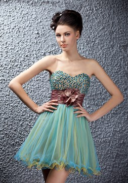 Homecoming/Prom robe d'a-ligne perles Empire court/Mini cristal Polina