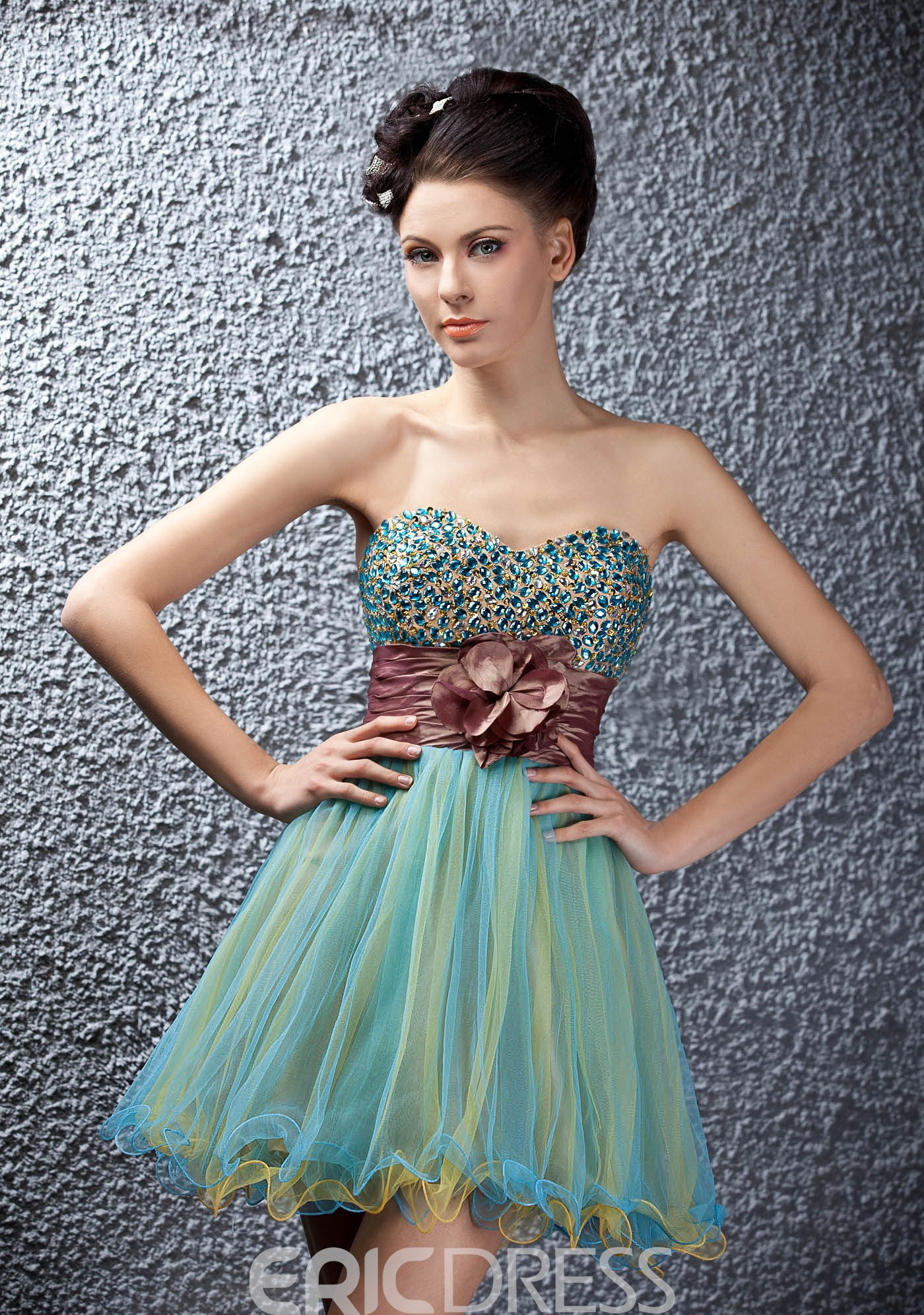 A-line Beads Empire Crystal Mini/Short Polinas Homecoming/Prom Dress