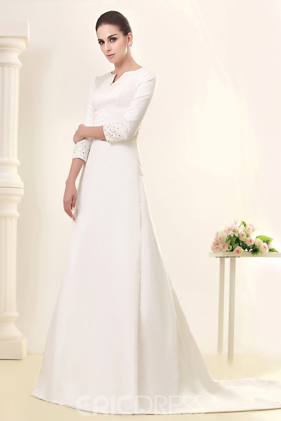 Glorious 3/4-Length Sleeve Bateau A-line Court Wedding Dress