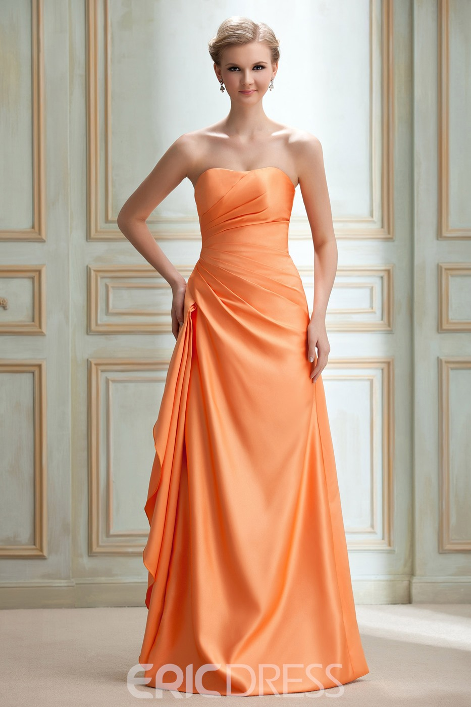 Chic A Line Floor-Length Strapless Bridesmaid Dress