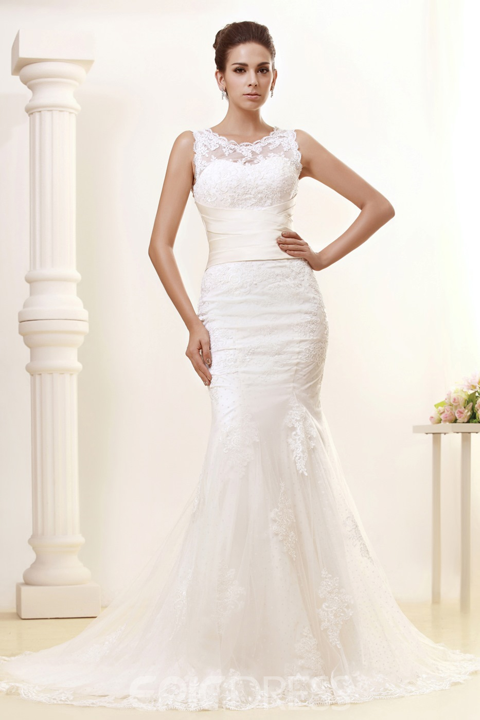 Gorgeous Trumpet/Mermaid Jewel Chapel Train Lace Taline's Wedding Dress
