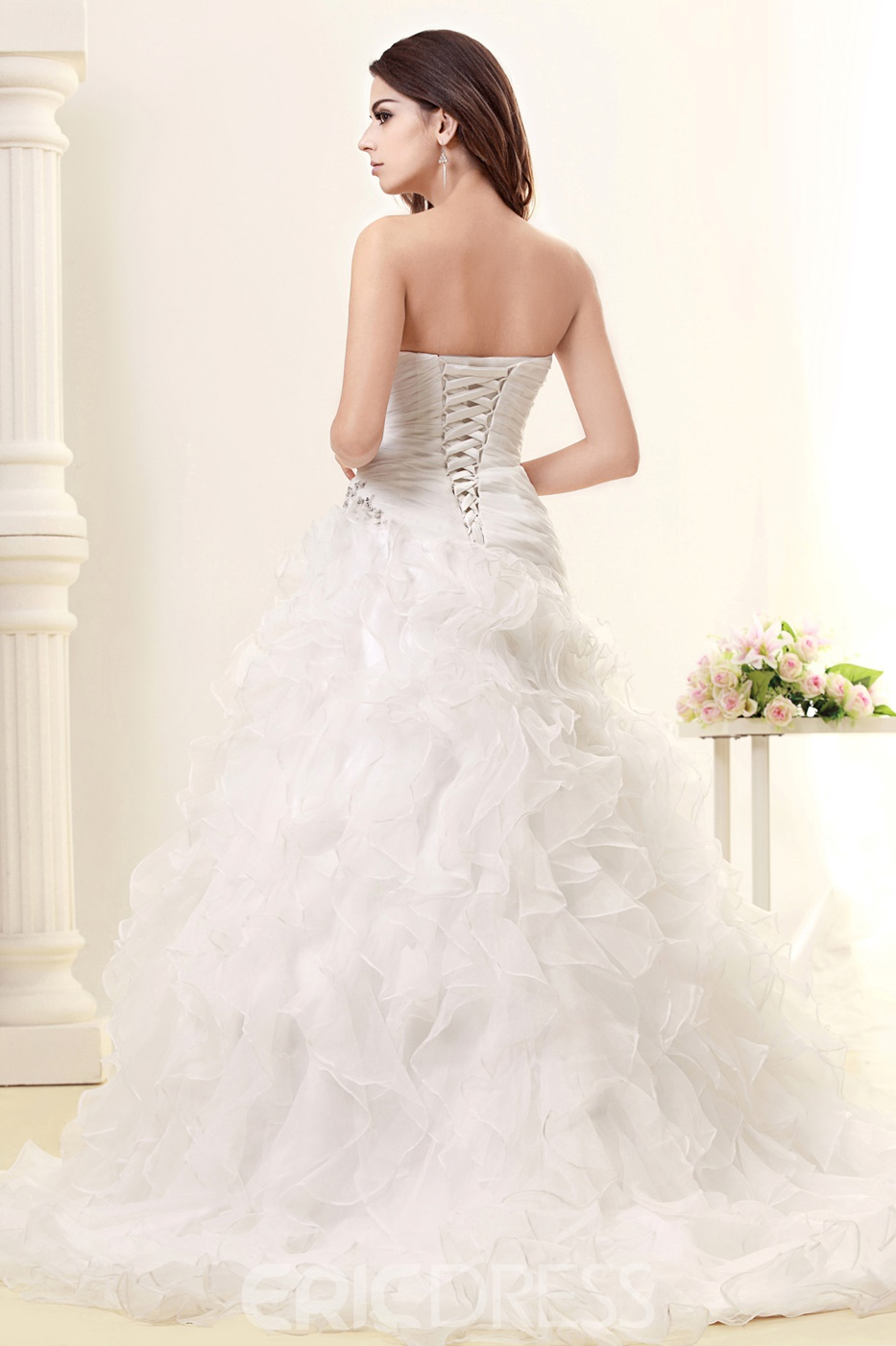 Pretty A-line Sweetheart Sleeveless Floor-length Chapel Ruffles Taline's Wedding Dress