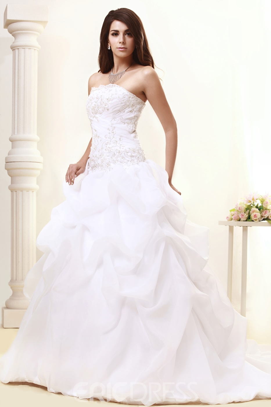 Attractive Strapless Ball Gown Ruched Sweep Wedding Dress