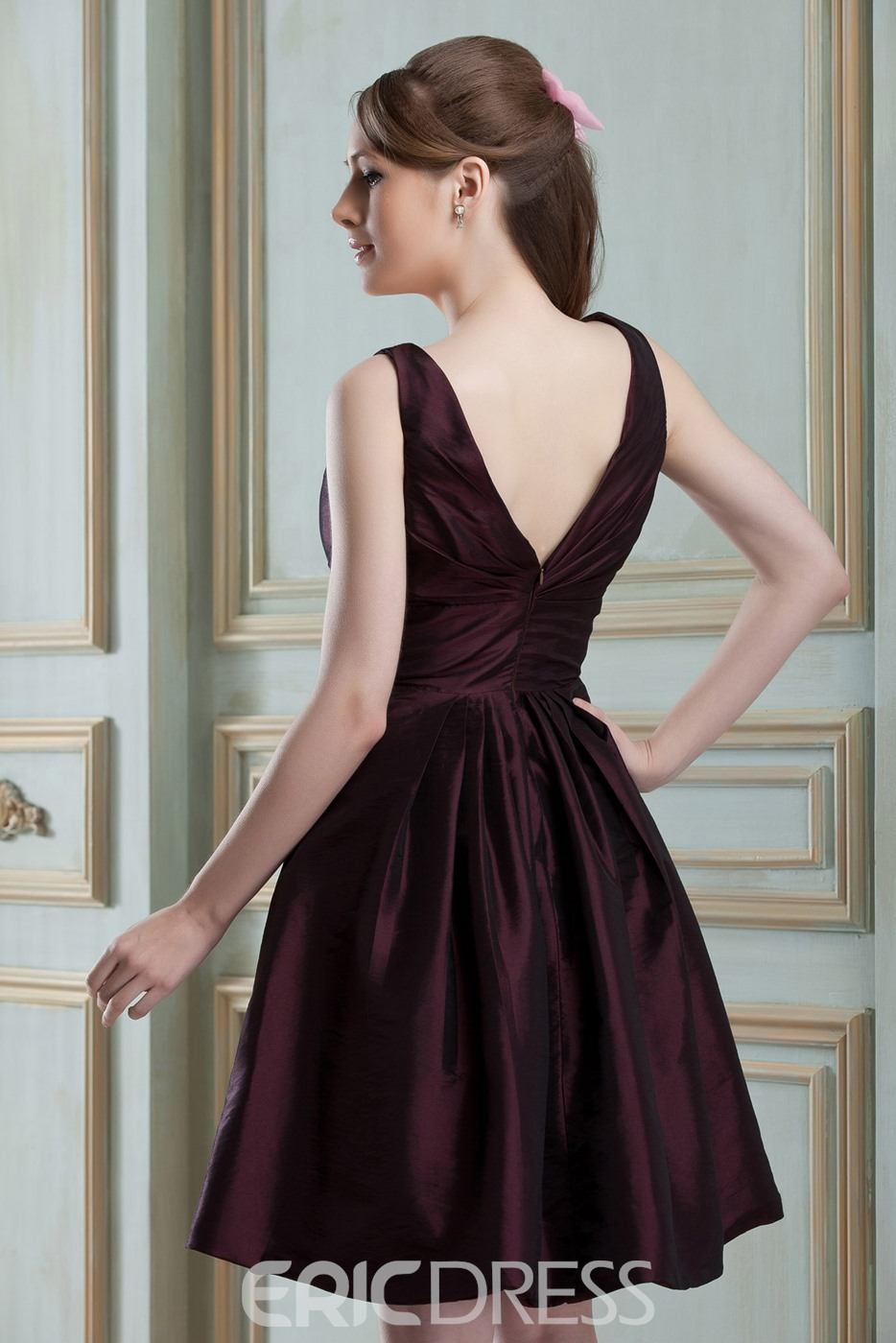 Special Ruched A-Line V-Neck Sleeveless Knee-Length Nadya's Bridesmaid Dress