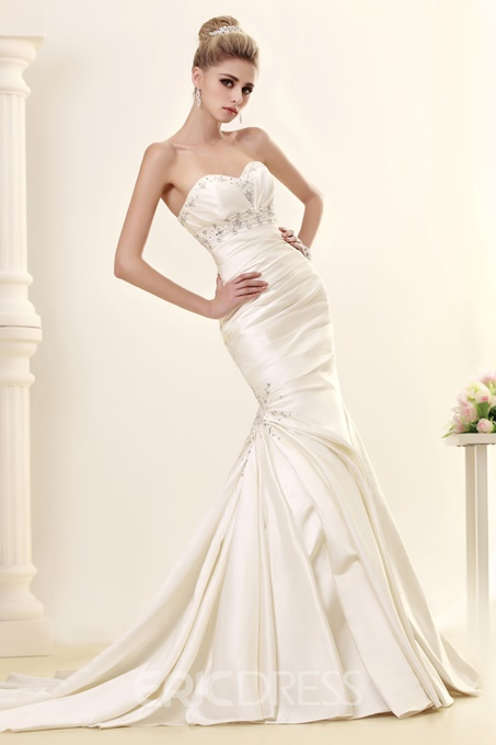 Ericdress Sweetheart Beading Pleats Mermaid Wedding Dress