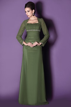 Modest Long Sleeves Sheath Square Neckline Floor-length Taline's Mother Dress
