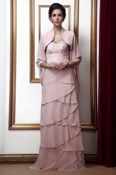 Attractive Tiered Sheath/Column Sweetheart Neckline Floor-Length Taline's Mother of the Bride Dress With Jacket/Shawl