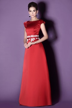 Beading A-Line/Princess Short-Sleeves Floor-Length Taline's Bridesmaid Dress