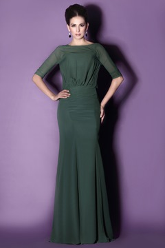 Delicate Half Sleeves Floor-Length Round Neckline Mother of the Bride Dress With Jacket/Shawl
