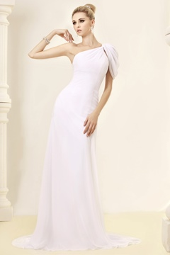 Fabulous Sheath/Column One-shoulder Floor-Length Chapel Beadings Wedding Dress