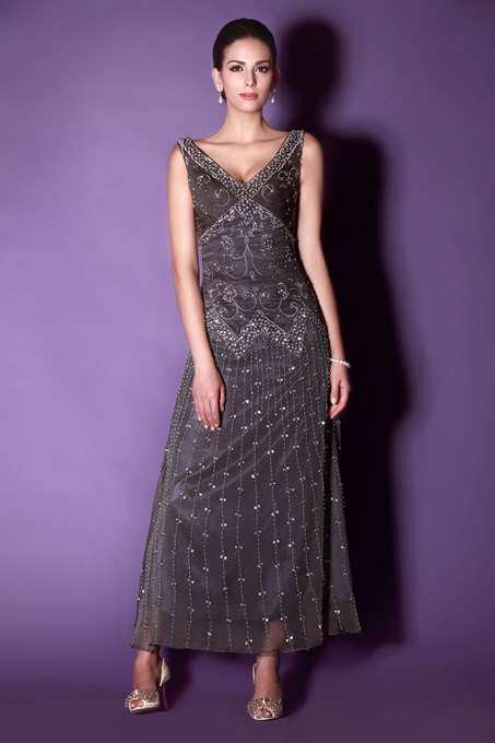 Ericdress Embroidery Beaded Ankle-Length Mother of The Bride Dress