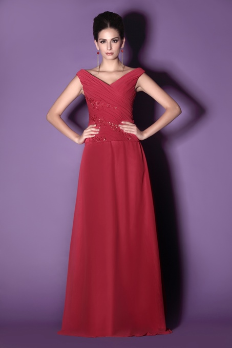 Attractive A-Line V-Neck Floor-Length Appliques Taline's Mother of the Bride Dress With Jacket/Shawl