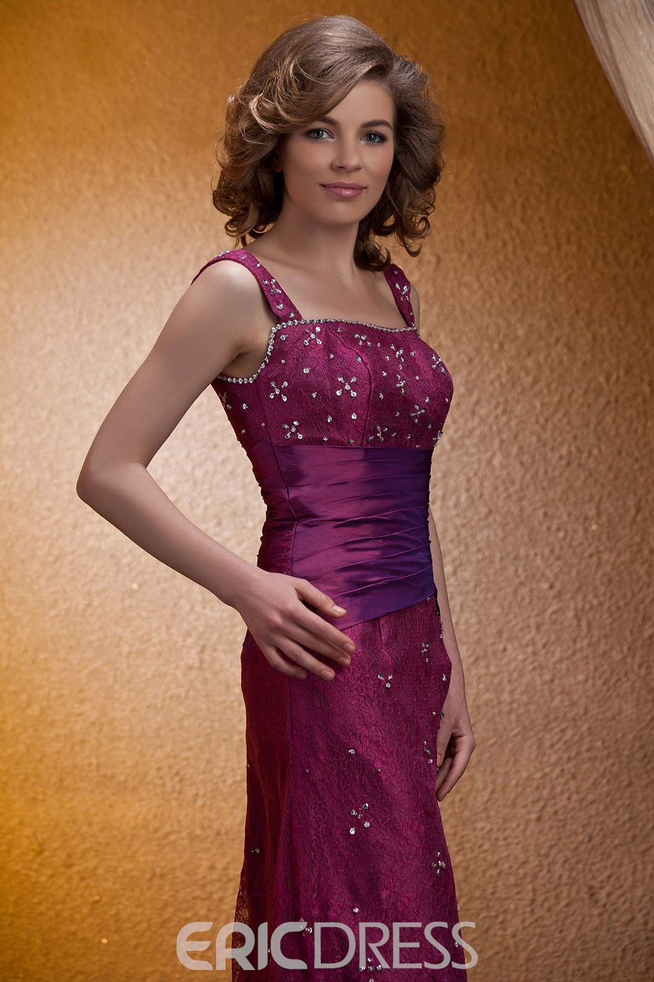 Fantastic Lace Sequined Sheath/Column Square Neckline Tea-Length Mother of the Bride Dress With Jacket/Shawl