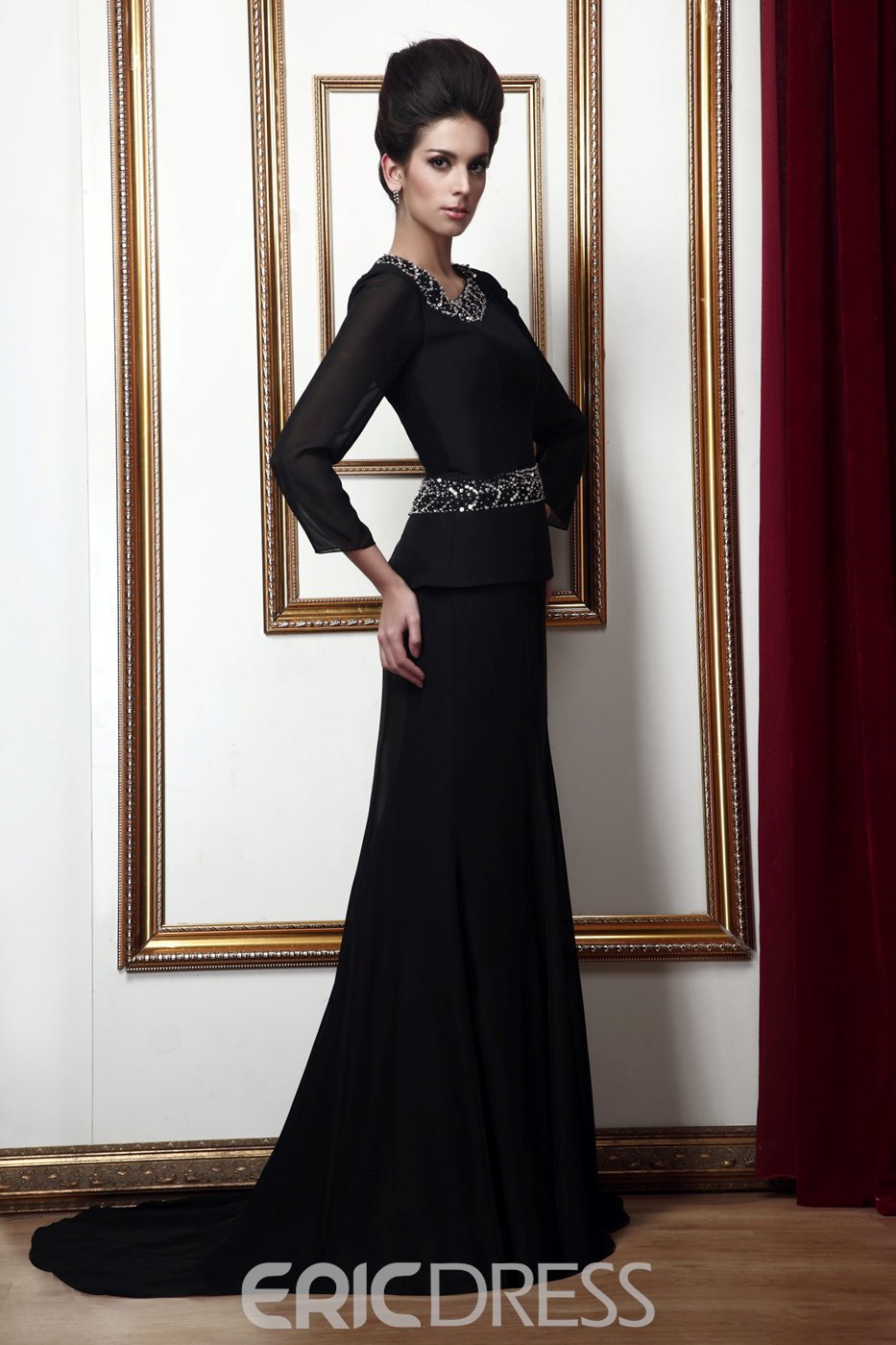 Graceful Beaded Sheath Floor-Length Long-Sleeves Mother of the Bride Dress