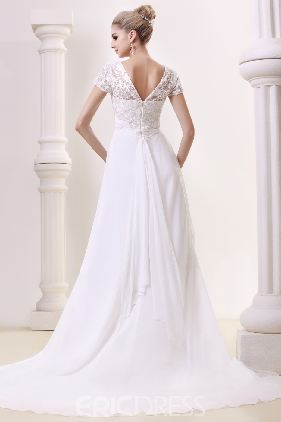 Graceful Empire V-Neck Floor-length Chapel Beading Plus Size Bridal Gown