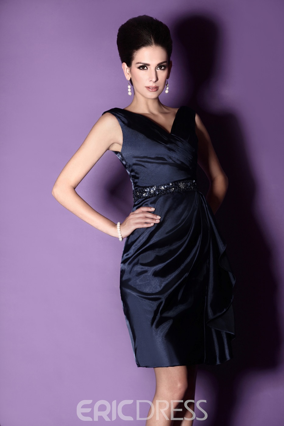 Fancy Draped Sheath/Column Knee-length Beaded Mother of The Bride Dress