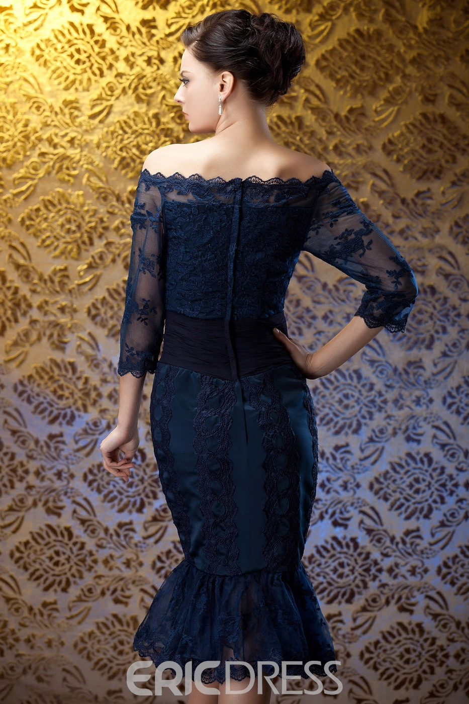 Perfect Sheath Off-the-Shoulder Tea-Length Mother of the Bride Dress