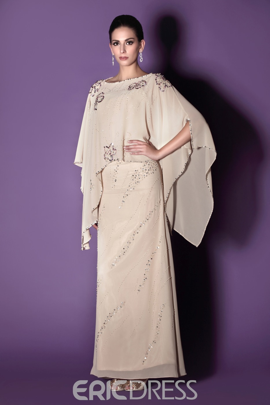 Fabulous Beaded Column/Sheath Floor-Length Scoop Taline's Mother of the Bride Dress With Jacket/Shawl