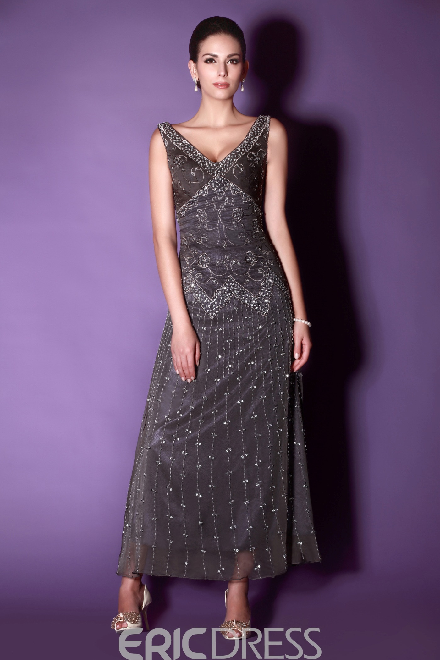 A-Line Ankle-length V-neck Embroidery Beaded Mother of The Bride Dress