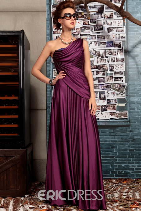 Ericdress One Shoulder Beading Draped Evening Dress