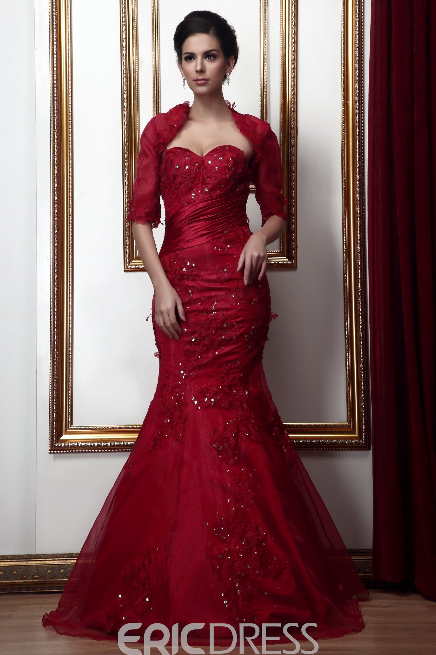 Fabulous Lace Mermaid/Trumpet Sweetheart Neckline Floor-Length Mother of the Bride Dress With Jacket/Shawl