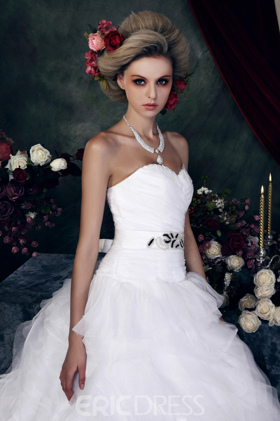 Fabulous Ball Gown Strapless Court Pleats Wedding Dress