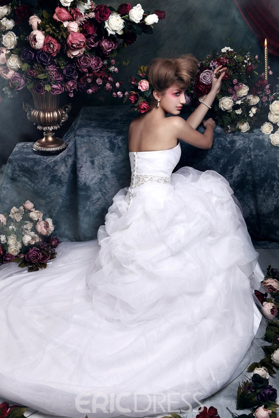 Awesome Ball Gown Sweetheart Floor-length Chapel Train Ruched &Beaded Zaraiska's Wedding Dress