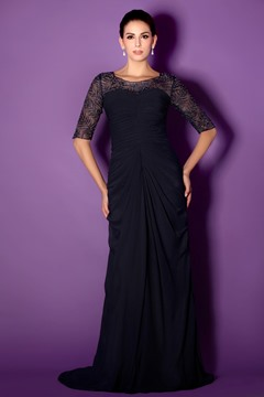 Fabulous Draped Bateau Half-Sleeve Floor-length Lace Taline's Mother of The Bride Dress