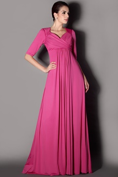 Elegant Pleats A-Line Sweetheart Neckline Half-Sleeves Floor-Length Plus Size Taline's Mother of the Bride Dress