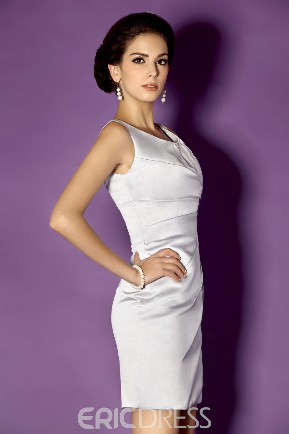 Charming Scoop Neckline Knee-length Taline's Mother of the Bride Dress With Jacket/Shawl