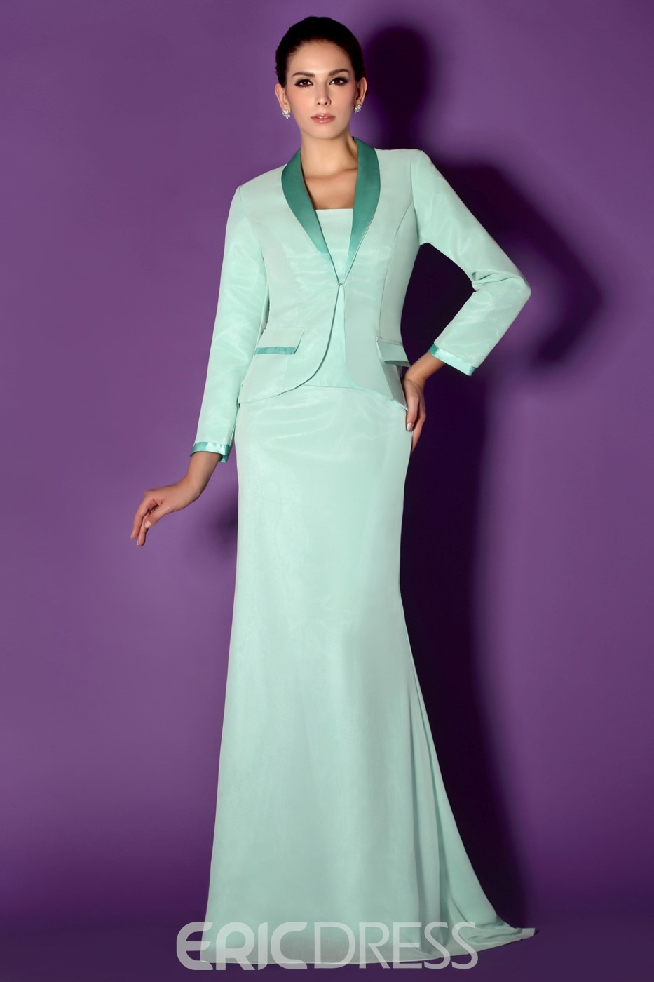 Sheath/Column Strapless Floor-Length Taline's Mother of the Bride Dress With Jacket/Shawl