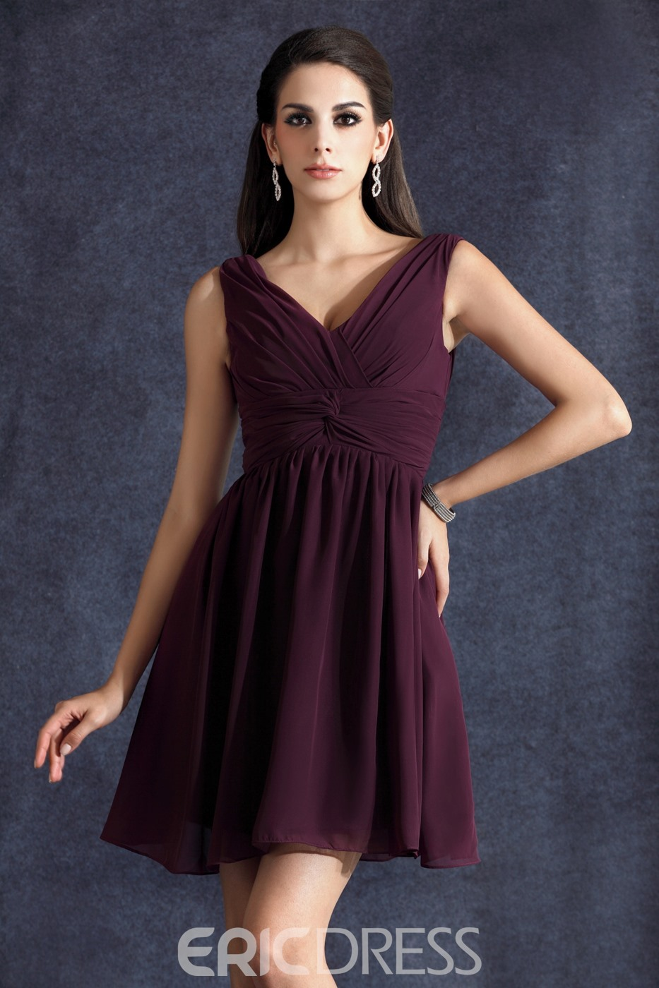 Classy Ruched A-Line Short/Mini Empire Waist V-neck Taline's Bridesmaid Dress