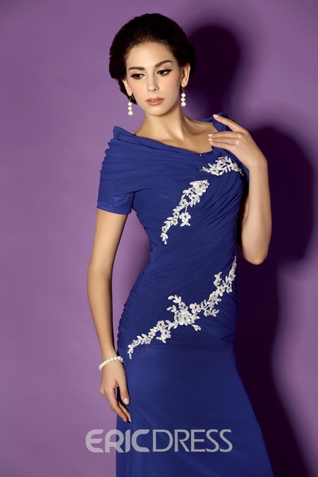 Elegant Appliques Sheath/Column Off-the-Shoulder Neckline Floor-length Taline's Mother of the Bride Dress