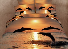 Ericdress Splendid Dolphin Print 4 Piece 3D Bedding Sets