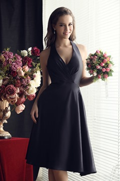 Ericdress Bowknot Halter Knee Length Bridesmaid Dress
