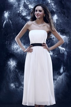 Cheap A-Line Tea Length Strapless Yulia's Cocktaill/Prom Dress
