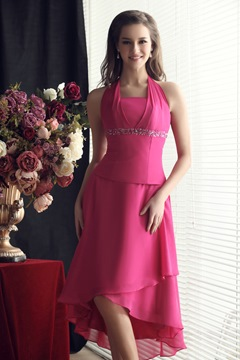 A-Line Asymmetry Halter Beading Natural Waist Sandra's Bridesmaid Dress