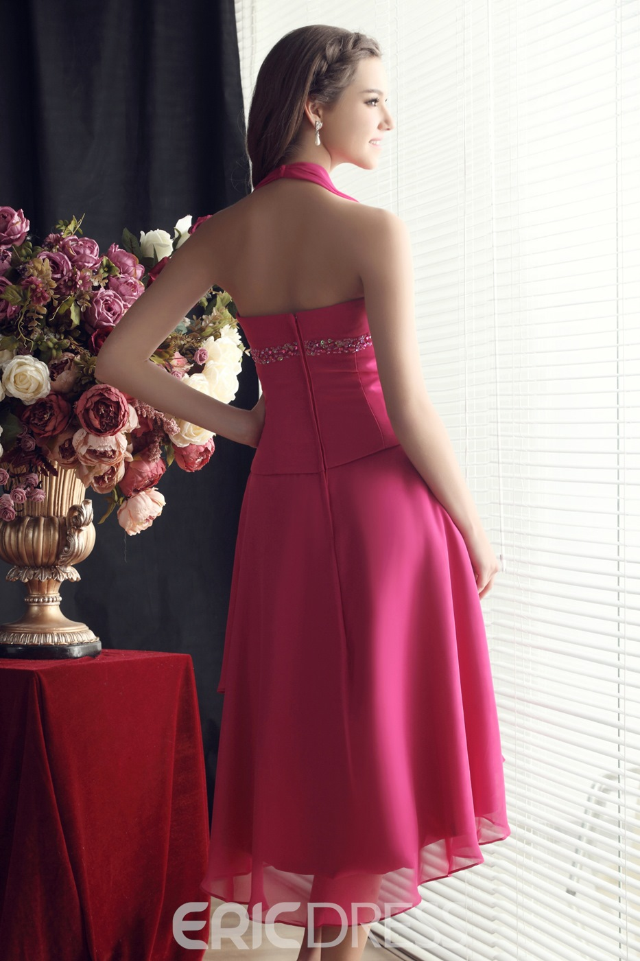 A-Line Asymmetry Halter Beading Bridesmaid Dress
