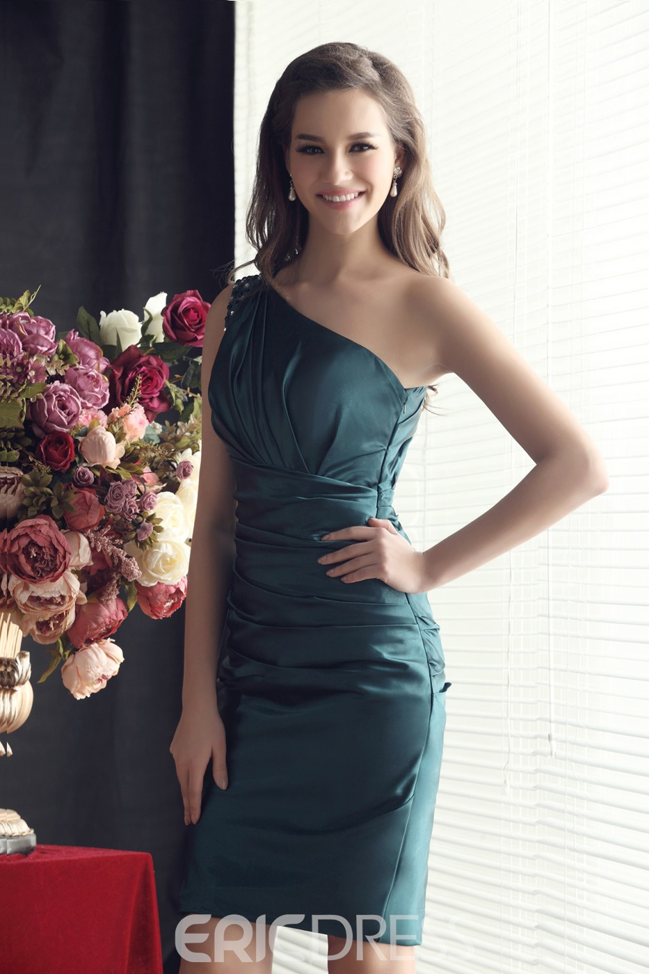 Sheath/Column Beading One-Shoulder Short/Mini-length Sandra's Bridesmaid Dress