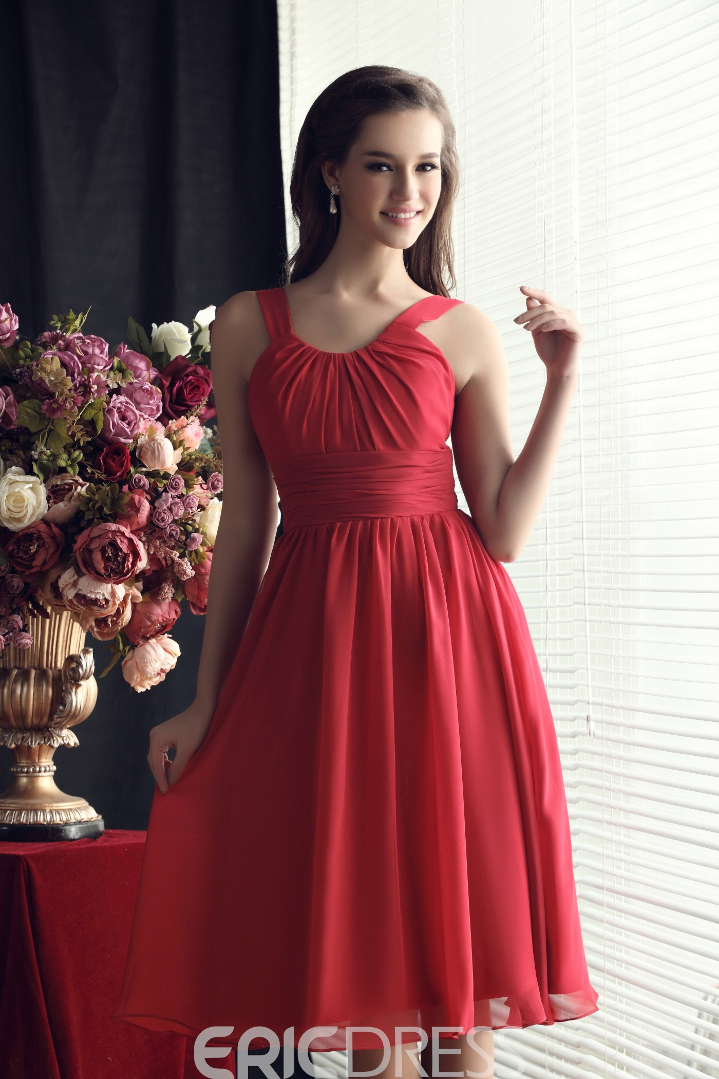 Ruched Straps A-line Knee-length Sandra's Bridesmaid Dress