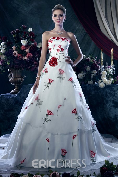 Unique A-line Strapless Color Wedding Dresss