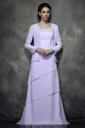 Image of A-line Floor-length Mother of the Bride Dress With Jacket