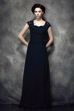 Fabulous Pleats Lace Sheath/Column Scoop Floor-Length Polina's Mother of the Bride Dress